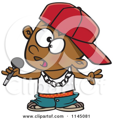 Cartoon of a Black Boy Rapper Musician Holding a Microphone - Royalty Free Vector Clipart by toonaday