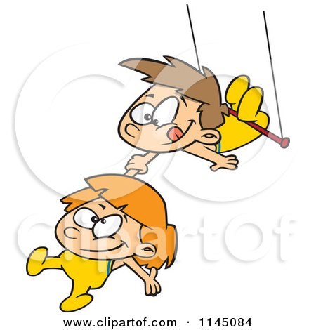 Cartoon Of A Boy And Girl On A Trapeze Royalty Free Vector Clipart