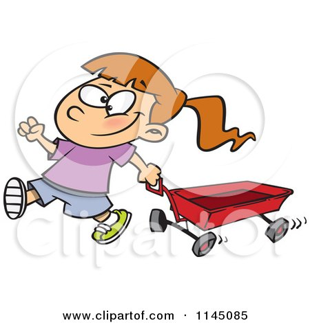Cartoon of a Happy Girl Pulling a Red Wagon - Royalty Free Vector Clipart by toonaday