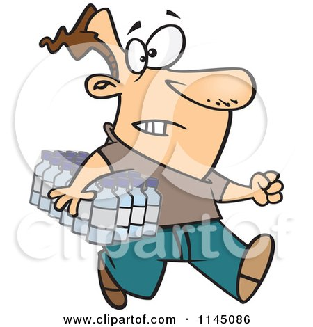 Cartoon of a Man Carrying a Flat of Bottled Water - Royalty Free Vector Clipart by toonaday