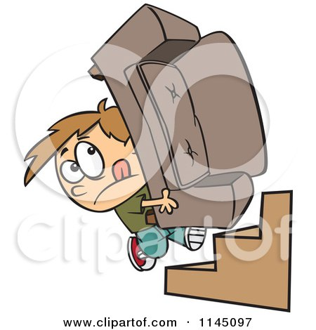 Cartoon of a Mover Boy Carrying a Couch up Stairs - Royalty Free Vector Clipart by toonaday