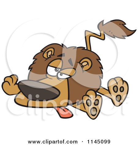 Cartoon of a Lazy or Sick Lion - Royalty Free Vector Clipart by toonaday