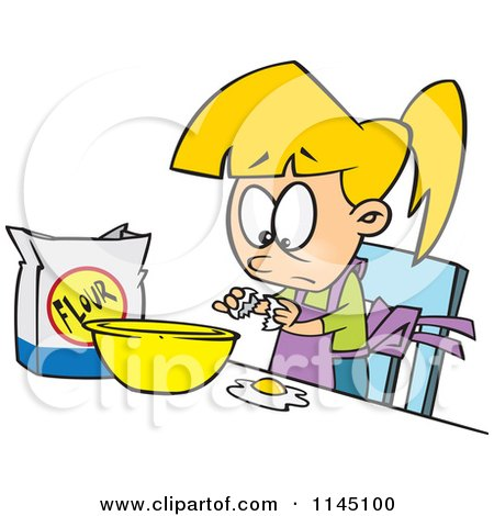 Cartoon of a Blond Girl Making Dough - Royalty Free Vector Clipart by toonaday