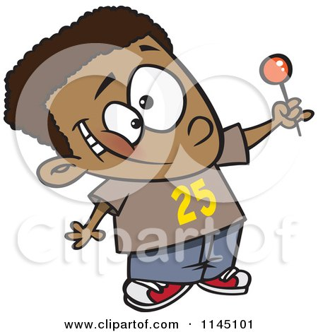 Cartoon Of A Happy Black Boy Holding Up A Lollipop Royalty Free Vector Clipart