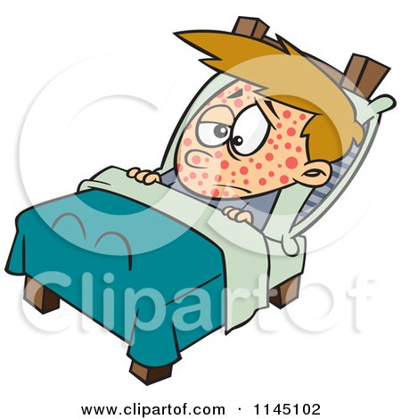 Cartoon of a Boy Sick with Measles Resting in Bed - Royalty Free Vector Clipart by toonaday