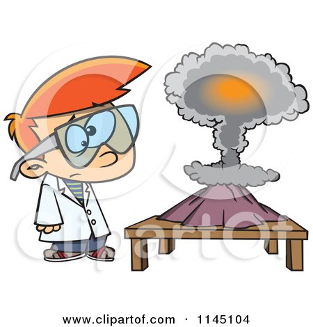 Cartoon of a Scientist Boy with a Mushroom Cloud Project - Royalty Free Vector Clipart by toonaday