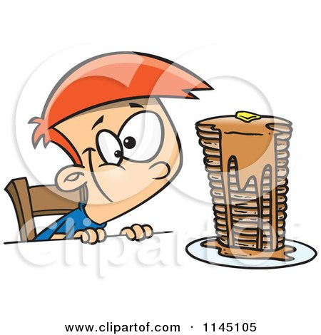 Cartoon of a Hungy Boy Gazing at a Stack of Pancakes Dripping with Syrup - Royalty Free Vector Clipart by toonaday
