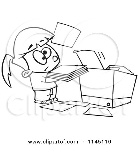 little girl coloring pages not copyrighted | Cartoon Clipart Of A Black And White Little Girl Trying to ...