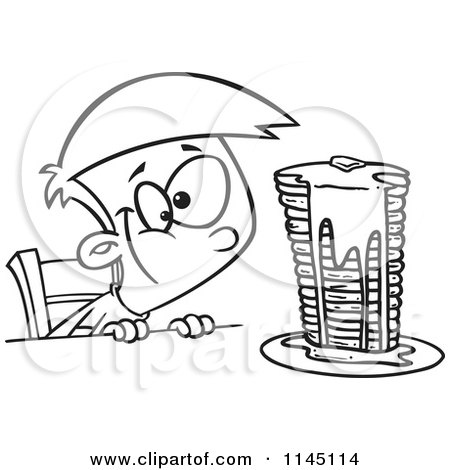 Cartoon Clipart Of A Black And White Hungy Boy Gazing at a Stack of Pancakes Dripping with Syrup - Vector Outlined Coloring Page by toonaday