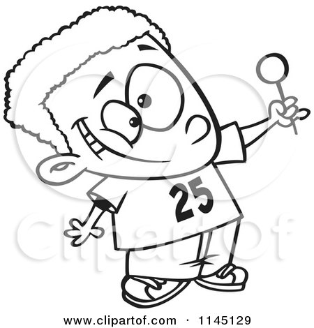 Black And White Happy Black Boy Holding Up A Lollipop