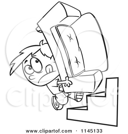 Cartoon Clipart Of A Black And White Mover Boy Carrying a Couch up Stairs - Vector Outlined Coloring Page by toonaday