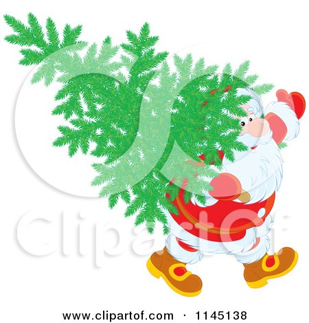 Cartoon of Santa Carrying a Christmas Tree on His Back - Royalty Free Vector Clipart by Alex Bannykh