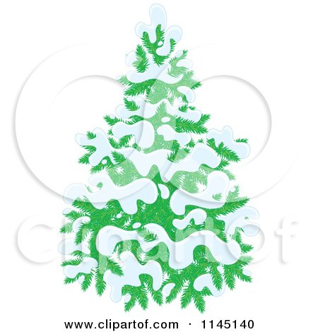 Cartoon of an Evergreen Christmas Tree Flocked in Snow - Royalty Free Vector Clipart by Alex Bannykh