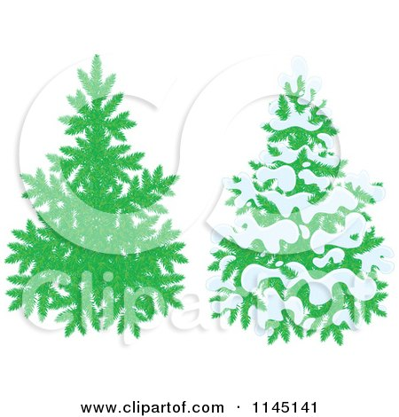Cartoon of Evergreen Christmas Trees and One with Snow - Royalty Free Vector Clipart by Alex Bannykh