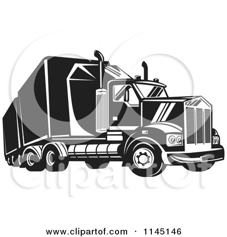 Clipart of a Retro Black and White Big Rig Truck 4 - Royalty Free Vector Illustration by patrimonio