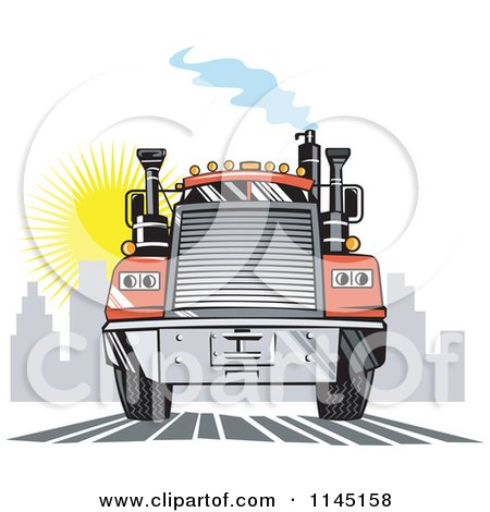 Clipart of a Retro Orange Big Rig Truck Leaving a City - Royalty Free Vector Illustration by patrimonio
