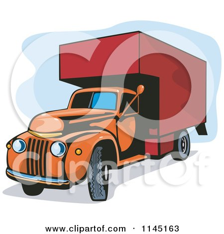 Clipart of a Vintage Orange and Red Moving Van - Royalty Free Vector Illustration by patrimonio