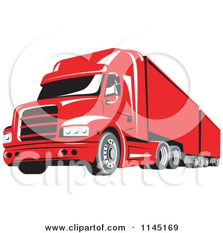 Clipart of a Retro Red Big Rig Truck - Royalty Free Vector Illustration by patrimonio