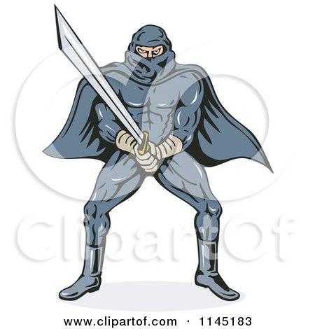 Clipart of a Ninja Villain with a Katana - Royalty Free Vector Illustration by patrimonio