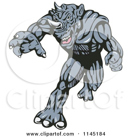 Clipart of a Running Rhino Man Villain - Royalty Free Vector Illustration by patrimonio