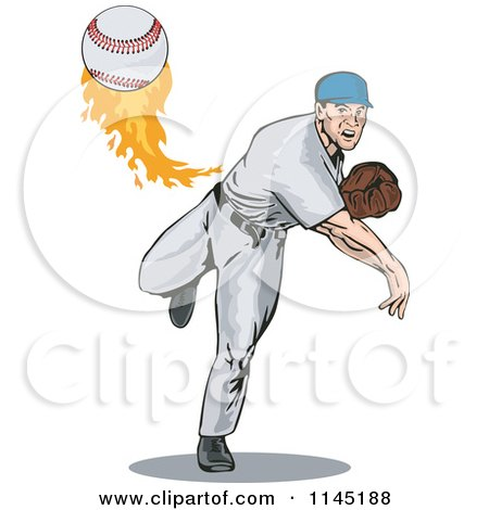 Clipart of a Pitcher Throwing a Fast Flaming Baseball - Royalty Free Vector Illustration by patrimonio