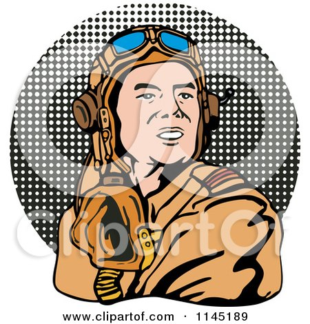 Clipart of a Retro WW2 Airman Pilot over Halftone - Royalty Free Vector Illustration by patrimonio