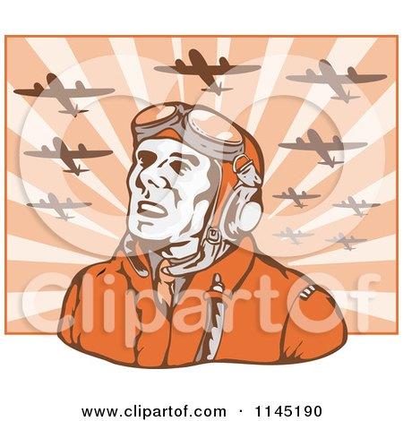 Clipart of a Retro WW2 Airman Pilot Under Planes - Royalty Free Vector Illustration by patrimonio