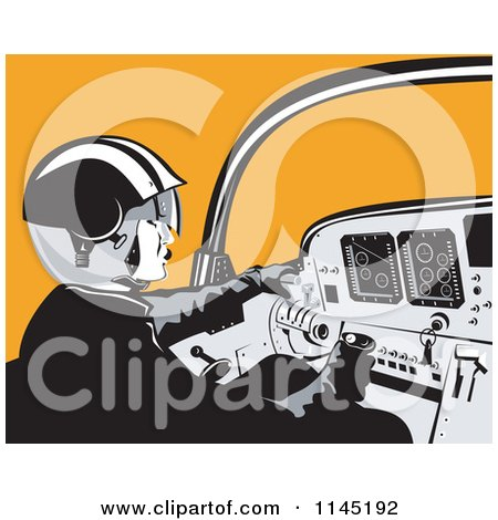 Clipart of a Retro Pilot in the Cockpit over Orange - Royalty Free Vector Illustration by patrimonio