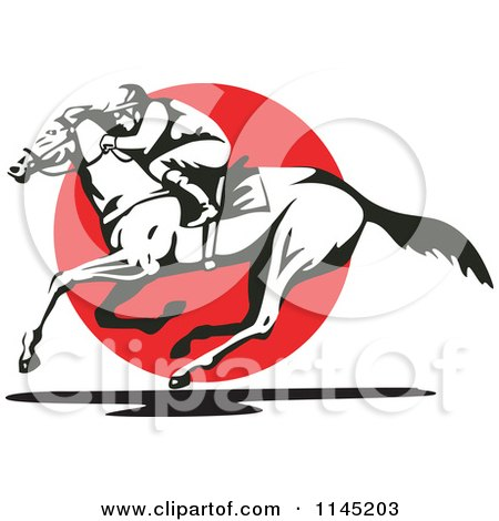 Clipart Of A Black And White Derby Jockey Racing A Horse