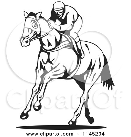 Clipart Of A Black And White Derby Jockey Racing A Horse 1