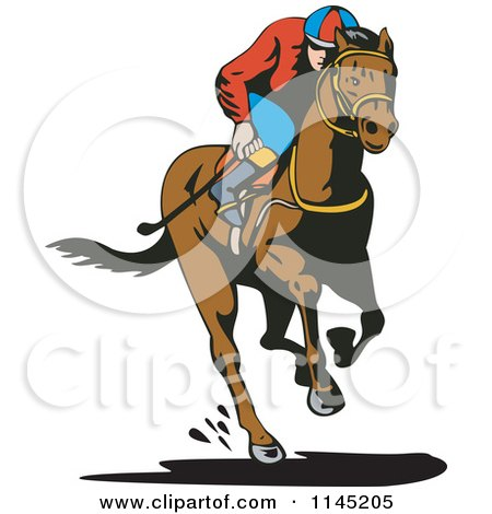 Clipart of a Derby Jockey Racing a Horse 1 - Royalty Free Vector Illustration by patrimonio