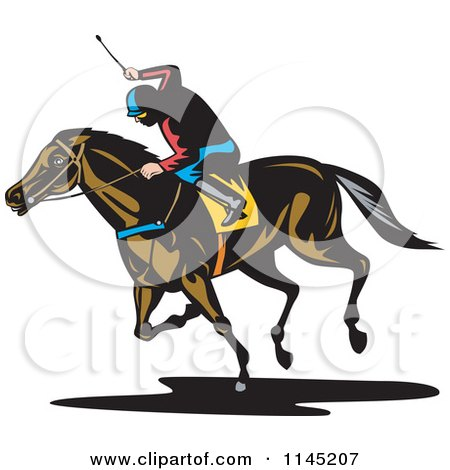 Clipart of a Retro Derby Horse Race Jockey 4 - Royalty Free Vector Illustration by patrimonio