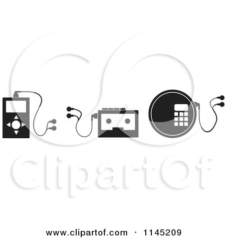 Clipart of Black and White Music Player Electronics - Royalty Free Vector Illustration by patrimonio