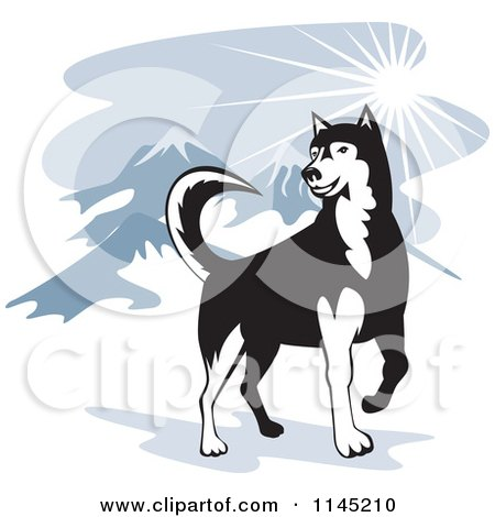 Clipart of a Husky Dog In The Mountains - Royalty Free Vector Illustration by patrimonio
