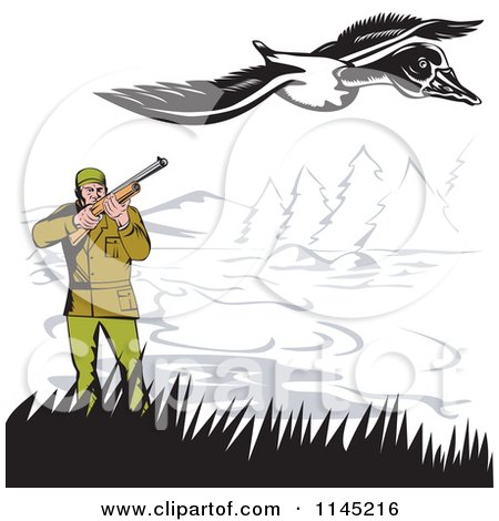 Clipart of a Retro Hunter Aiming at a Goose - Royalty Free Vector Illustration by patrimonio