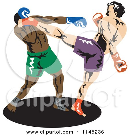 Clipart of a Boxer Fighter Kicking an Opponent 1 - Royalty Free Vector Illustration by patrimonio