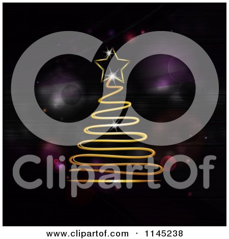 Clipart of a Gold Neon Scribble Christmas Tree over Purple Flares - Royalty Free Vector Illustration by elaineitalia