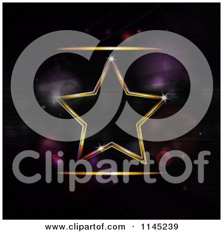 Clipart of a Neon Star over Purple Flares - Royalty Free Vector Illustration by elaineitalia