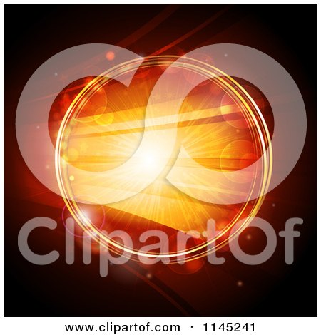 Clipart of a Glowing Orange Circle with Bright Lights - Royalty Free Vector Illustration by elaineitalia