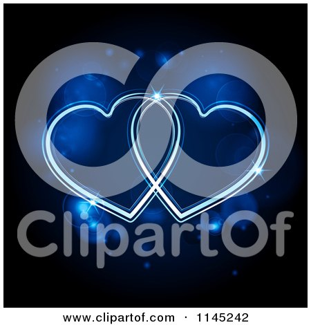 Neon Blue Hearts Glowing over Flares Posters, Art Prints
