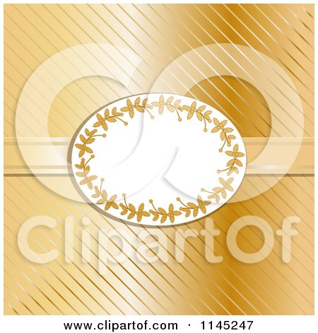 Oval Holly Frame over Gold Stripes and Ribbon Posters, Art Prints