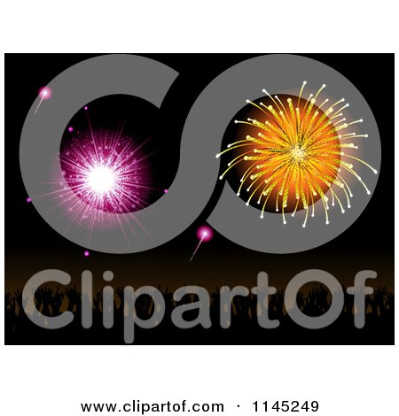 Clipart of a Silhouetted Crowd Under Pink and Orange Fireworks - Royalty Free Vector Illustration by elaineitalia