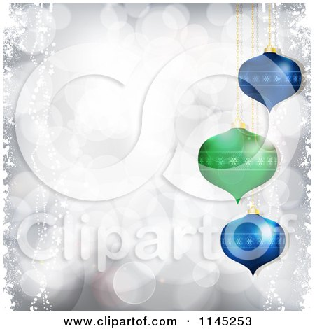 Clipart of 3d Green and Blue Christmas Baubles over Silver Bokeh Lights - Royalty Free Vector Illustration by elaineitalia