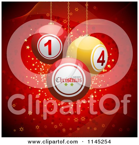 Clipart of 3d Christmas Disco Balls Suspended over Red with Waves and Stars - Royalty Free Vector Illustration by elaineitalia
