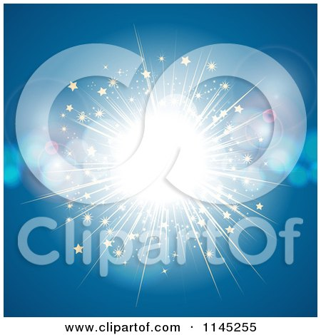 Clipart of a Bright Light Explosion with Stars and Flares on Blue - Royalty Free Vector Illustration by elaineitalia