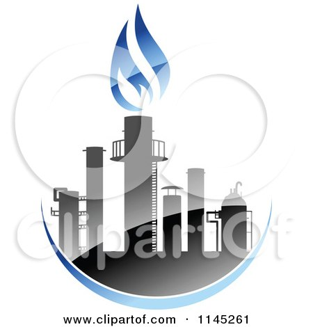 Clipart of a Gas Refinery with Blue Flames 1 - Royalty Free Vector Illustration by Vector Tradition SM