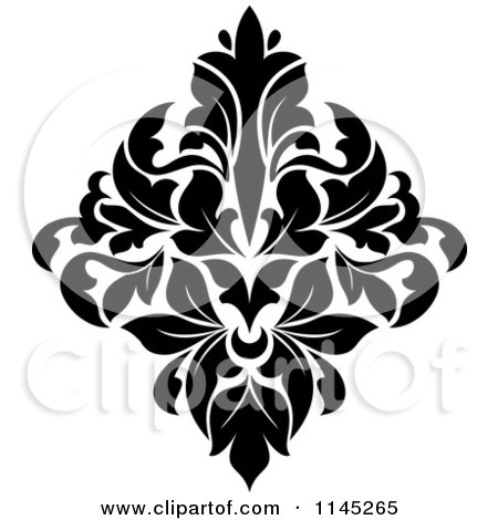 Clipart of a Black and White Damask Design 2 - Royalty Free Vector Illustration by Vector Tradition SM