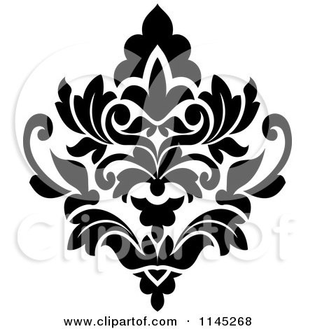 clipart of a seamless pattern background of damask in black on white rh clipartof com damask pattern clip art damask swirl clip art