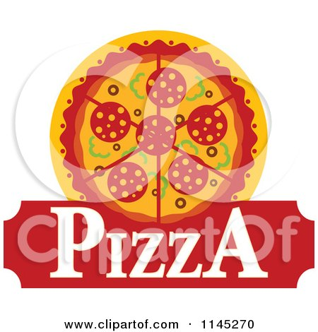 Clipart of a Pizza Pie Logo 6 - Royalty Free Vector Illustration by Vector Tradition SM