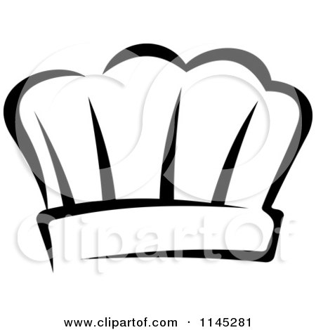 Clipart of a Black and White Chefs Toque Hat 8 - Royalty Free Vector Illustration by Vector Tradition SM